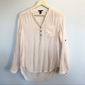 Forever 21 Cream Peach Long Sleeve Top Sz Small